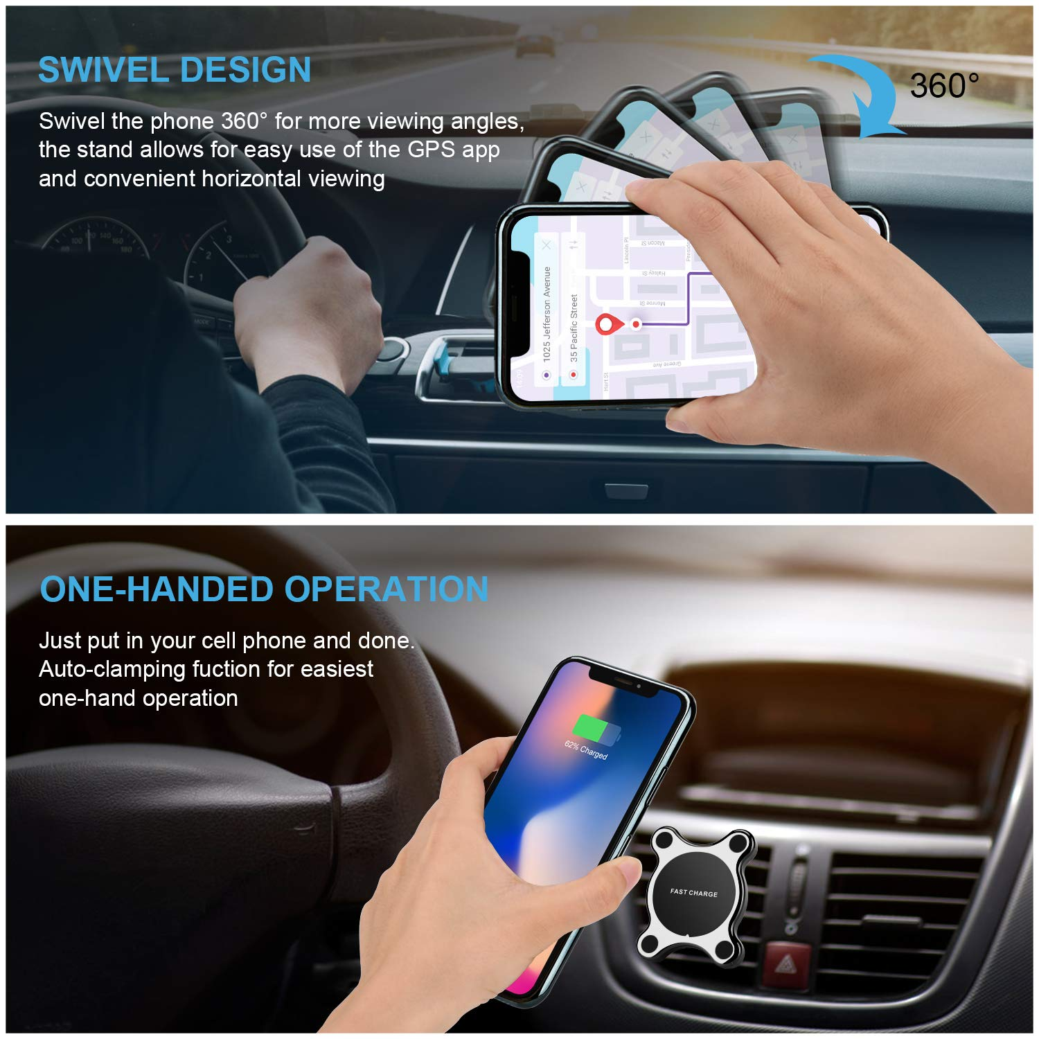 Car Phone Mount Easy One Touch Phone Holder For Car Universal Air Vent Magnetic Car Mount Phone Holder Cradle Washable Adhesive Stick On Dashboard Windshield Compatible iPhone X 8 Plus Samsung Galax BetterlivDirect 4351518794