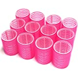 UrbHome Large Hair Rollers, Self Grip, Salon Hairdressing Curlers (12 Pack, Large)