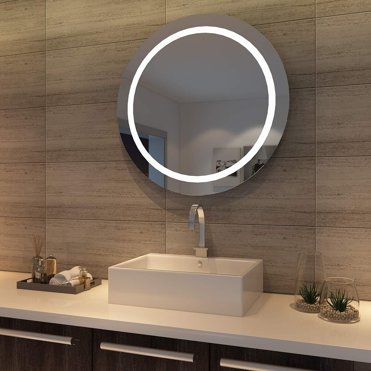 Kippschalter sunnyshowers LED Badspiegel wandspiegel rund 84cm Lichtspiegel Bad Spiegel LED Beleuchtung, kaltweiß