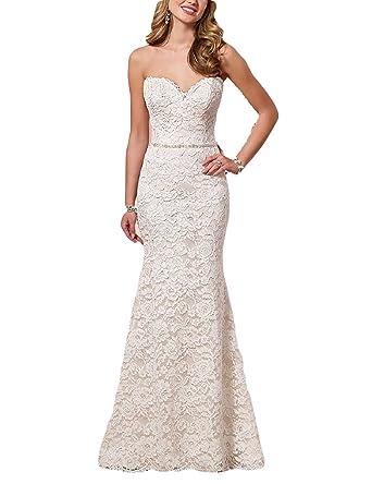 YSMei Womens Long Mermaid Sweetheart Wedding Dress Lace Evening Prom Bridal Gown Sash Ivory 2