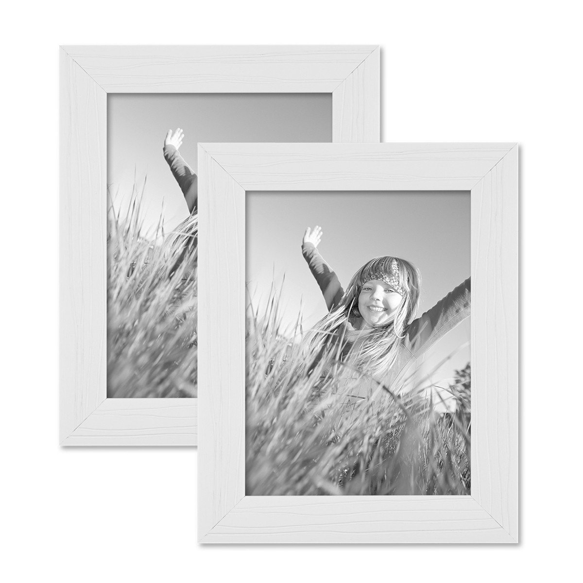 Amazon.de: Photolini 2er Set Bilderrahmen 15x20 cm Weiss Modern ...