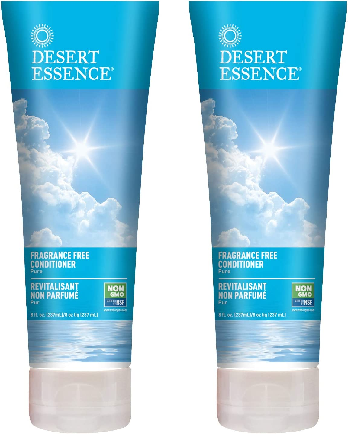 Desert Essence Fragrance Free Conditioner - Pure - 8 Fl Ounce - Pack of 2 - Gloss & Shine - Smoothes & Softens Hair - No Oil Residue - Antioxidants - Green Tea - Jojoba Oil - Vitamin B5