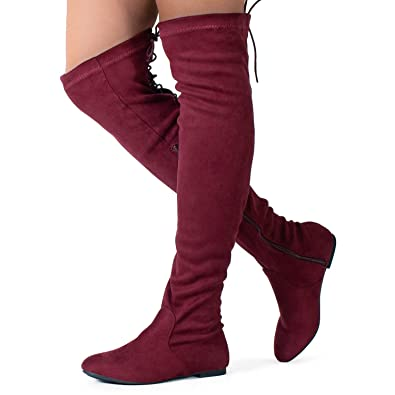 1ea8a4fbec28 Womens Fashion Comfy Vegan Suede Side Zipper Over Knee High Boots Premier  Standard Women