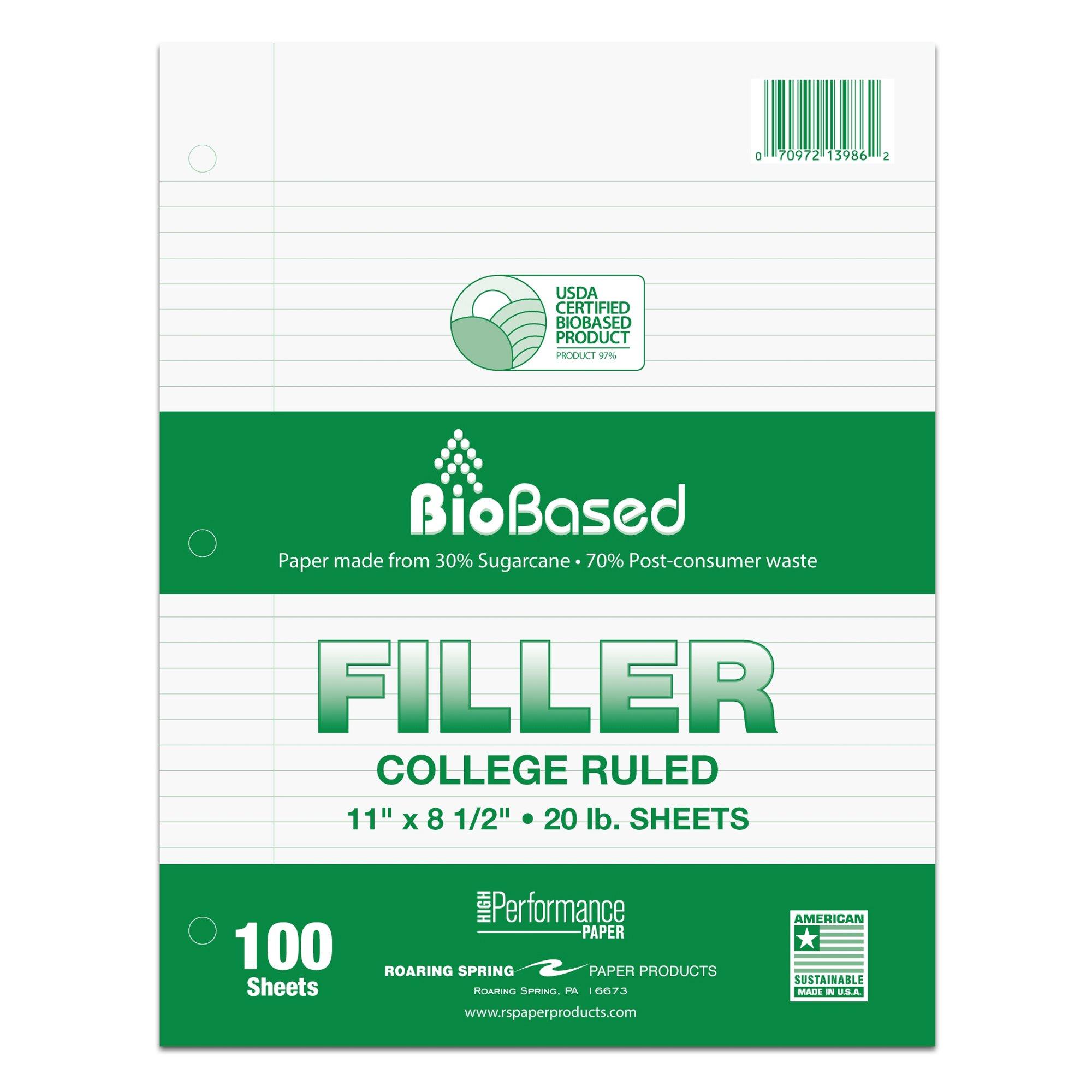 "Roaring Spring Filler Paper, College Ruled, 11"" x 8.5"", 20# BioBase Paper"