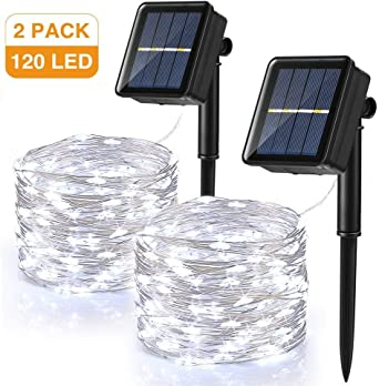 Guirnalda Luces Exterior Solar, BrizLabs 2 Pack 120 LED Cadena de ...