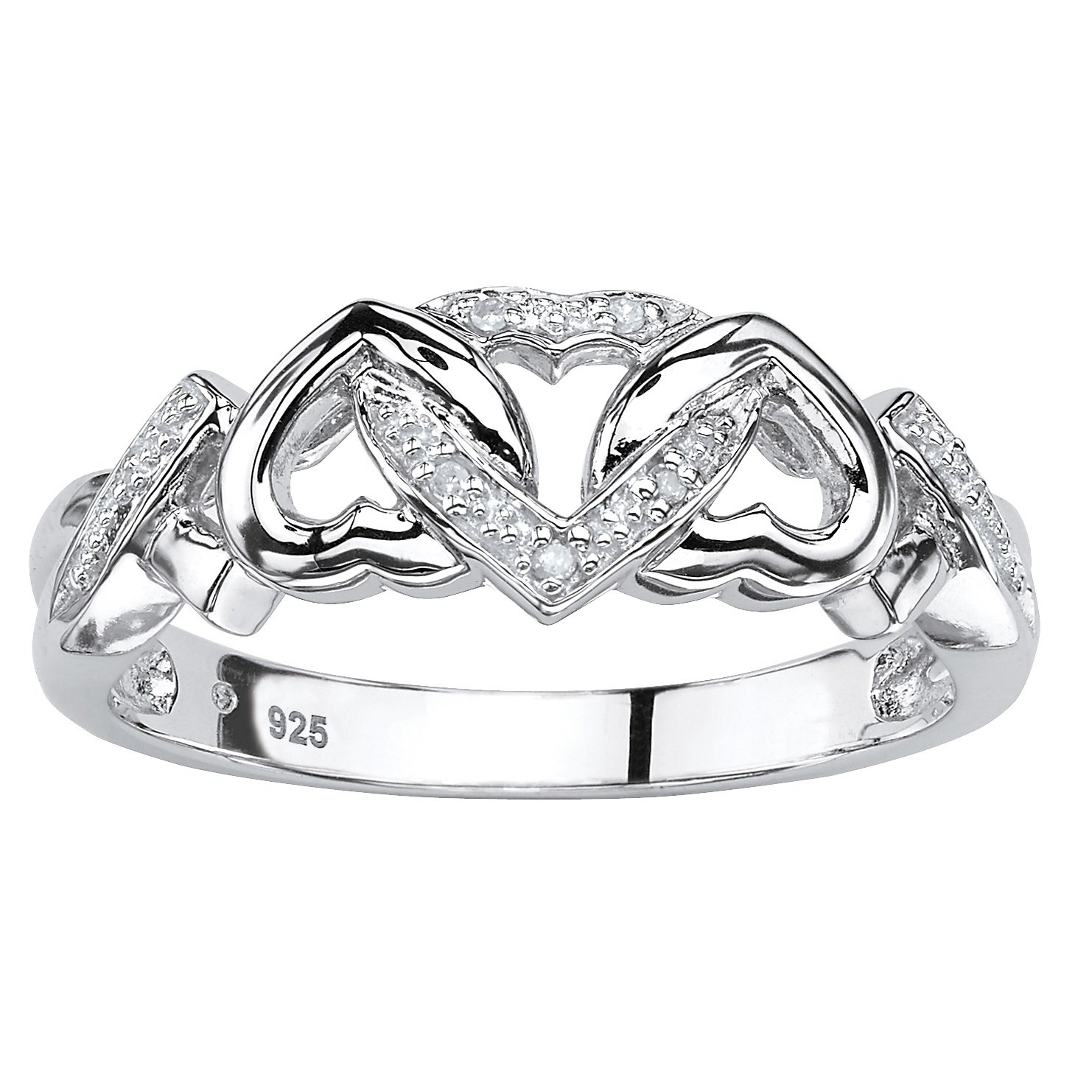 Platinum over Sterling Silver Genuine Diamond Accent Interlocking Heart Promise Ring Size 7 by Palm Beach Jewelry
