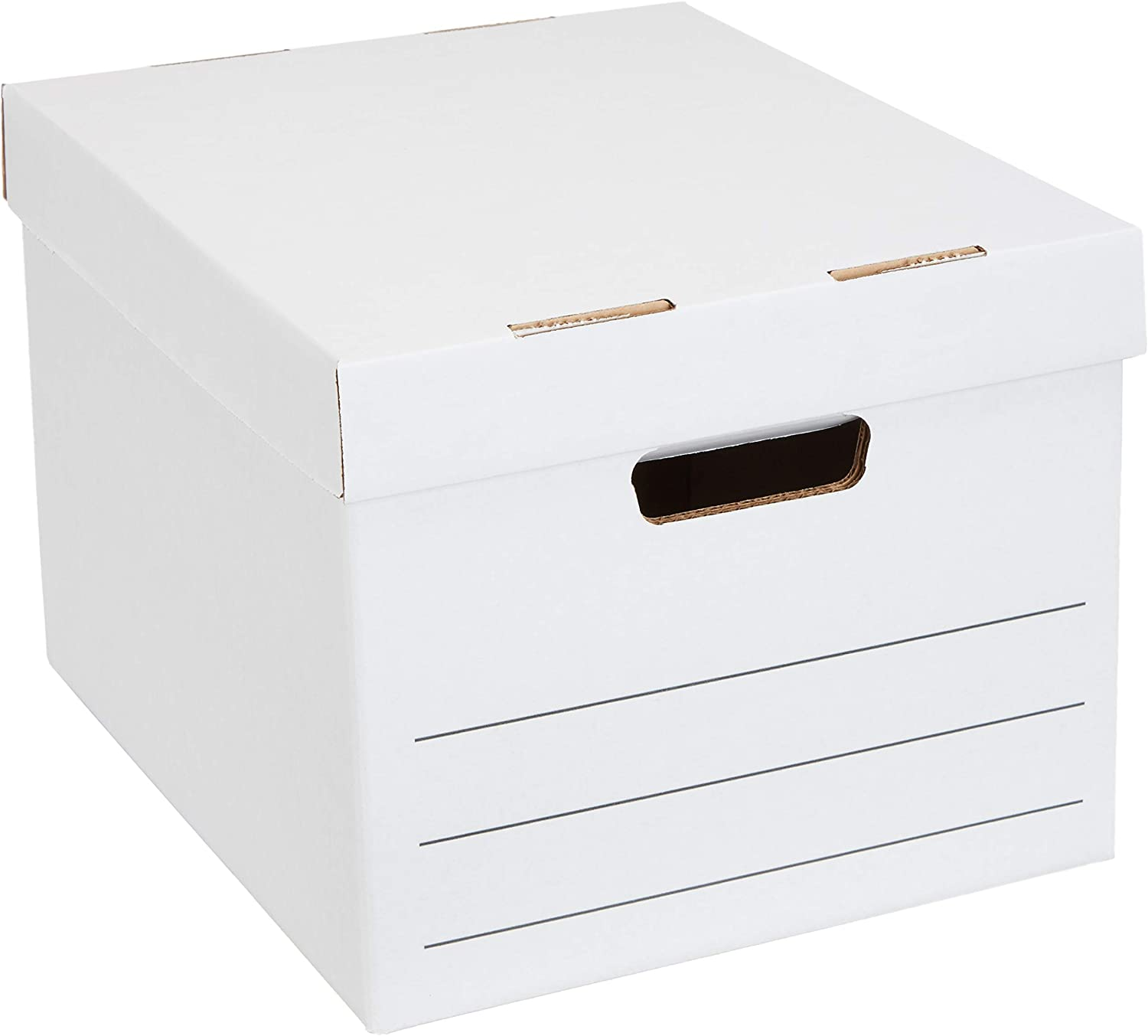 AmazonBasics Medium Duty Storage Filing Box with Lift-Off Lid - Pack of 20, Letter / Legal Size