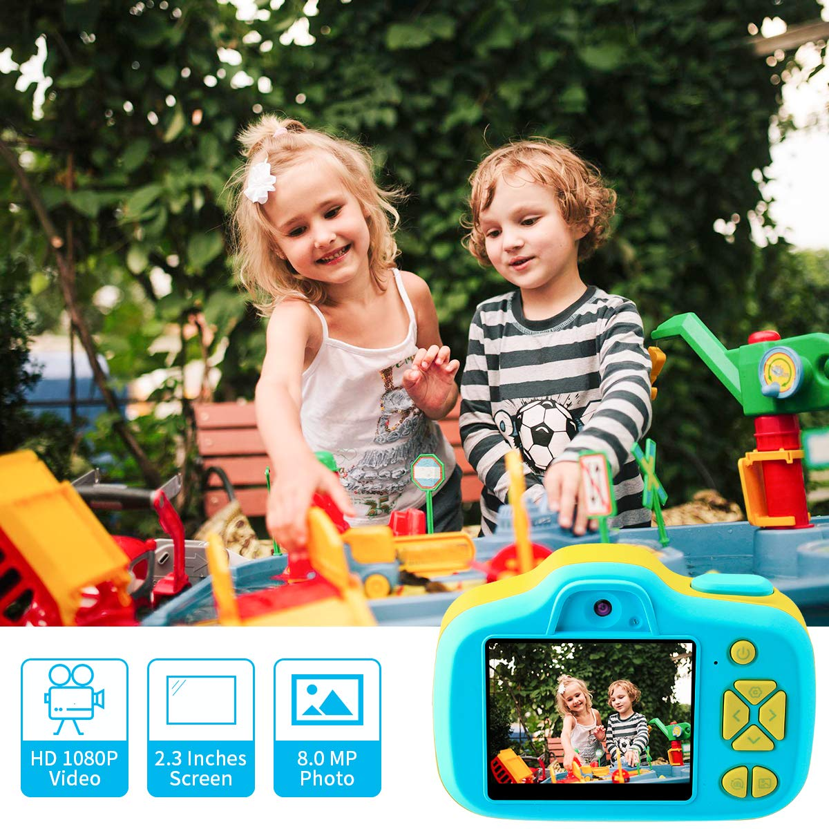 Joytrip Kids Camera Gifts,Front and Rear Selfie Children Camcorder,2.3 Inches Screen,for Boys,Blue by Joytrip (Image #2)