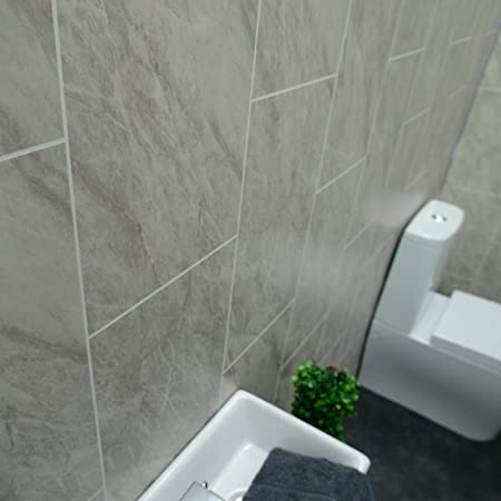Claddtech Grey marble bathroom wall panels Tile effect cladding used ...