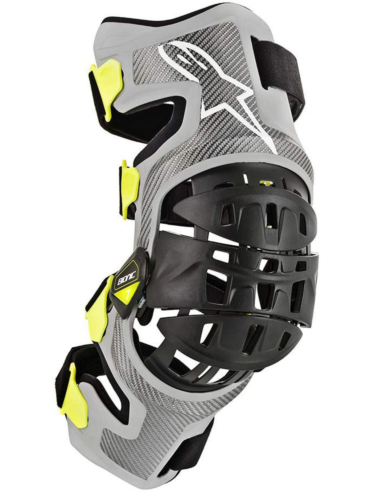 Bionic-7 Off-Road Motocross Knee Brace Set (Medium, Silver Yellow Fluo) by Alpinestars (Image #4)