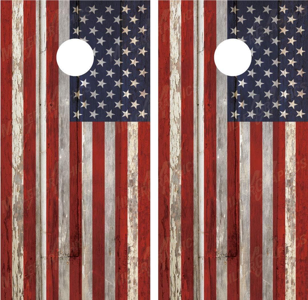 アメリカ国旗アンティーク調木製ラミネートCornholeボードデカールラップラップ