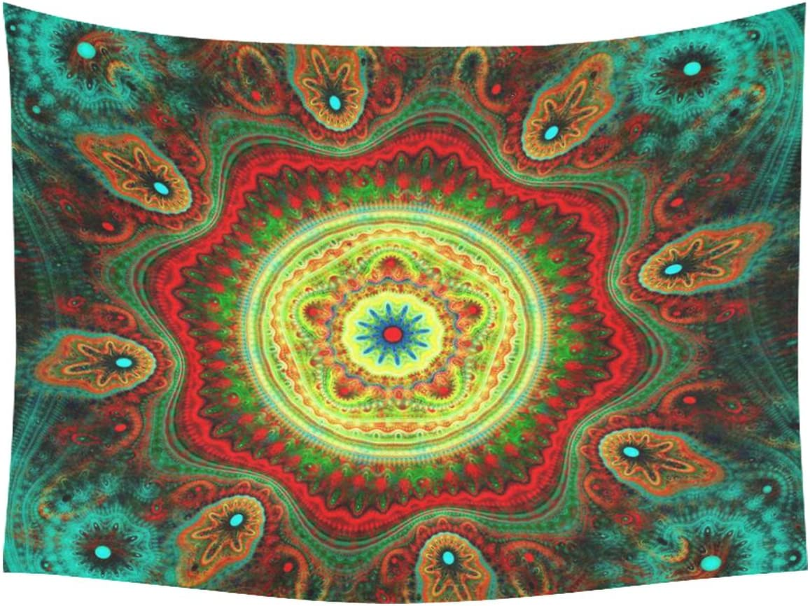 INTERESTPRINT Hippie Mandala Bohemian Floral Indian Fantasy Peacock Tapestry Wall Hanging Art Sets Home Decor Wall Art 80 X 60 Inches
