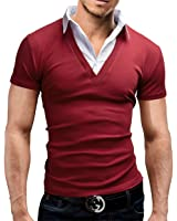 MERISH 2 in 1 Hemd Poloshirt Kurzarm Shirt 5 Farben Slim Fit 21
