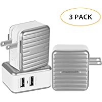 3-Pack Poweriver Portable 2 Port Dual USB Charger