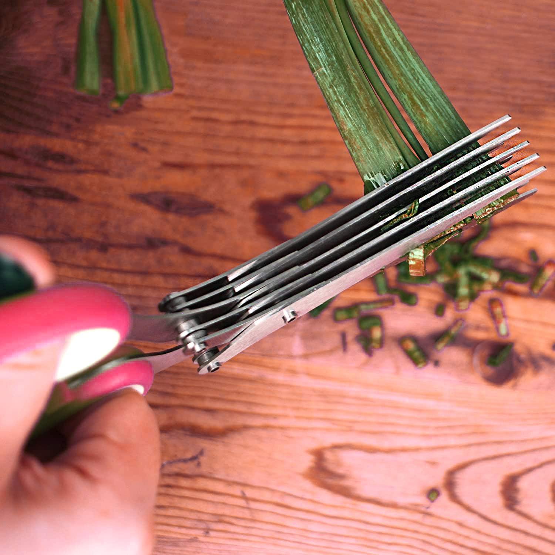 Kr/äuterschere Multifunktionale Hochwertige K/üchenschere mit 5 Klingen Schnittlauch Koriander Reinigungskamm aus Edelstahl Klingenschneider Petersilie