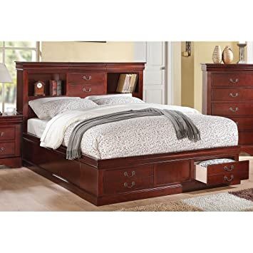 ACME Furniture Louis Philippe III 24380Q Queen Bed With Storage, Cherry