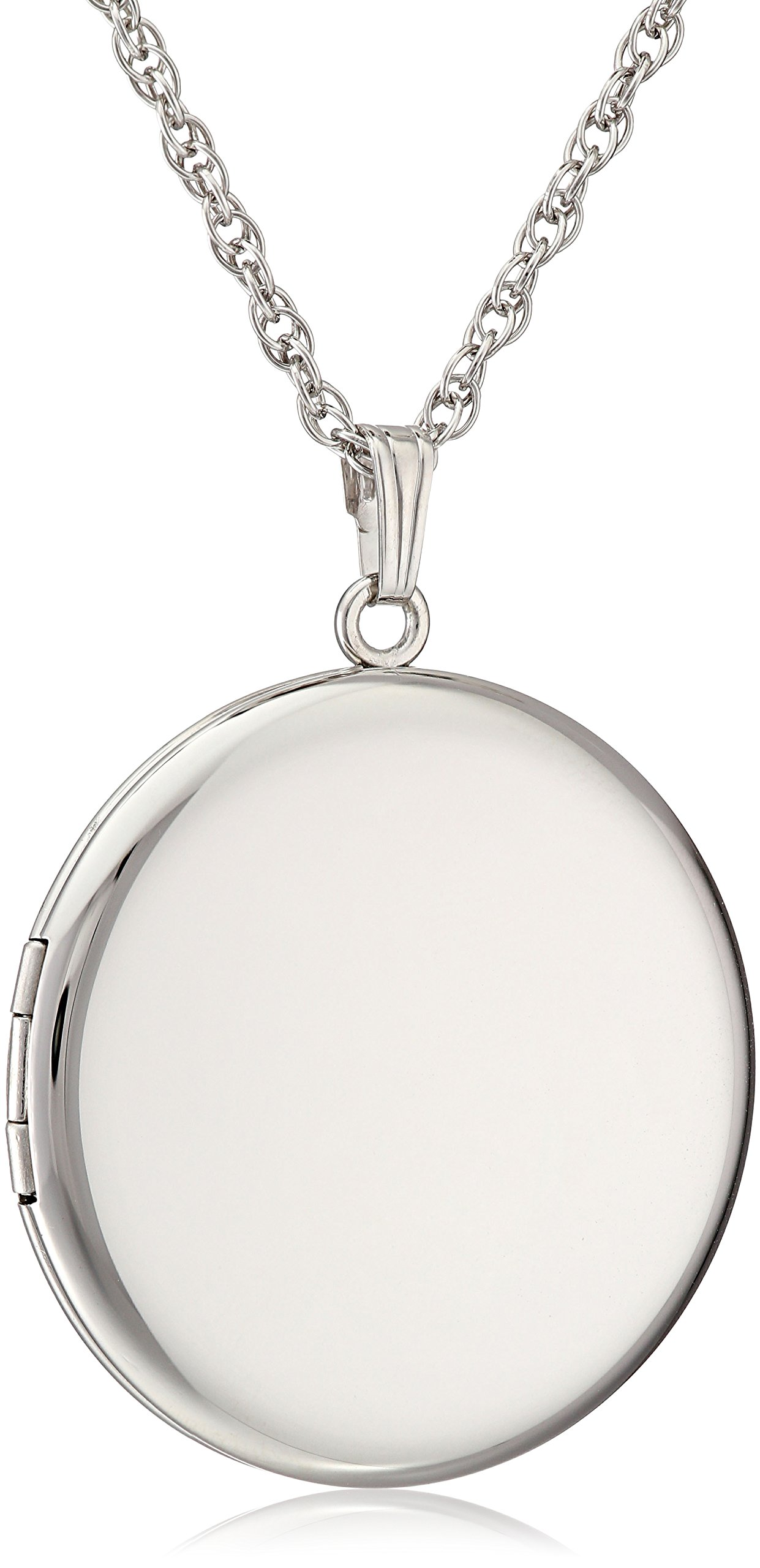 Sterling Silver Round Polished Locket Pendant Necklace, 22''