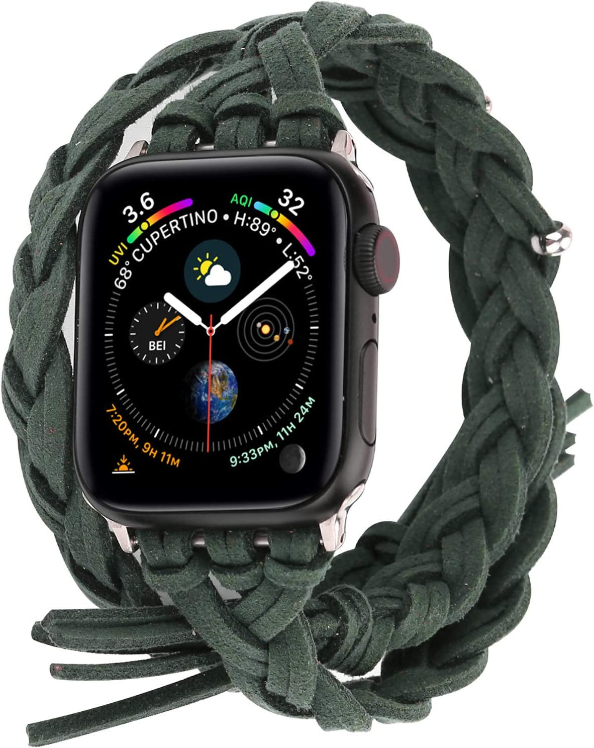 Compatible with Apple Watch Band 38mm 42mm 40mm 44mm, Woven Leather Smart Watch Strap Handmade Double Tour Bracelet Replacement for iWatch Series 5 4 3 2 1 Vintage Band 42mm/44mm, Green