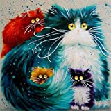 5D DIY Diamond Painting Kit Round Drill Arts Crafts Wall Stickers for Living Room The Cats (12X12inches/30X30cm)