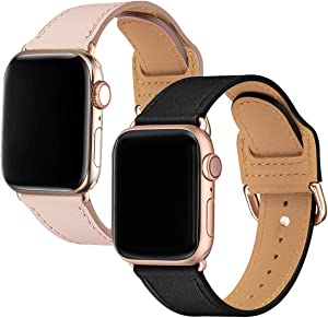 POWER PRIMACY Bands Compatible with Apple Watch Band 38mm 40mm, Top Grain Leather Smart Watch Strap Compatible for Men Women iWatch Series 5 4 3 2 1(Black/Rosegold+Pink Sand /Gold)