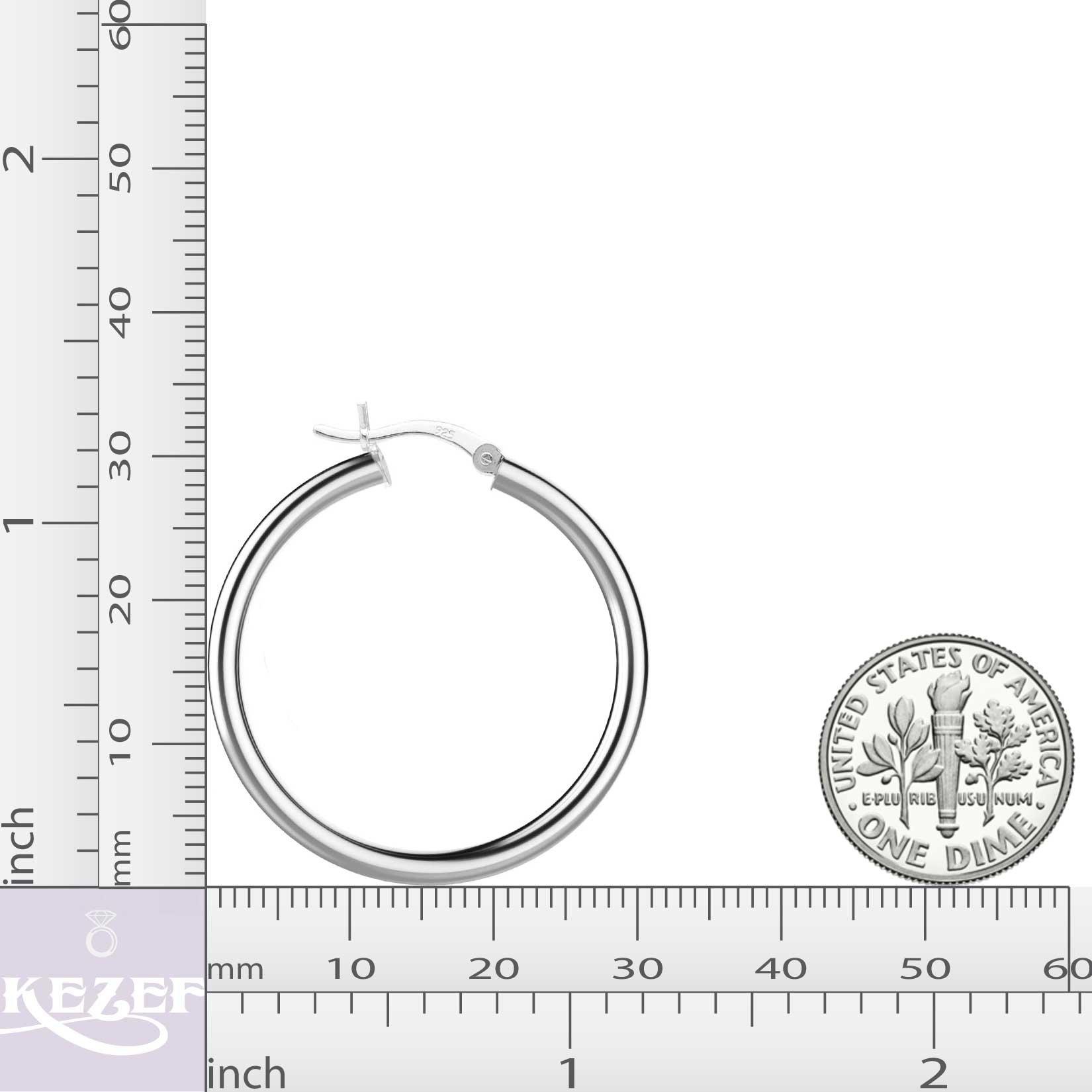 Sterling Silver Hoop Earrings - 3mm x 30mm Click-Top Tube Hoop by KEZEF Creations (Image #3)