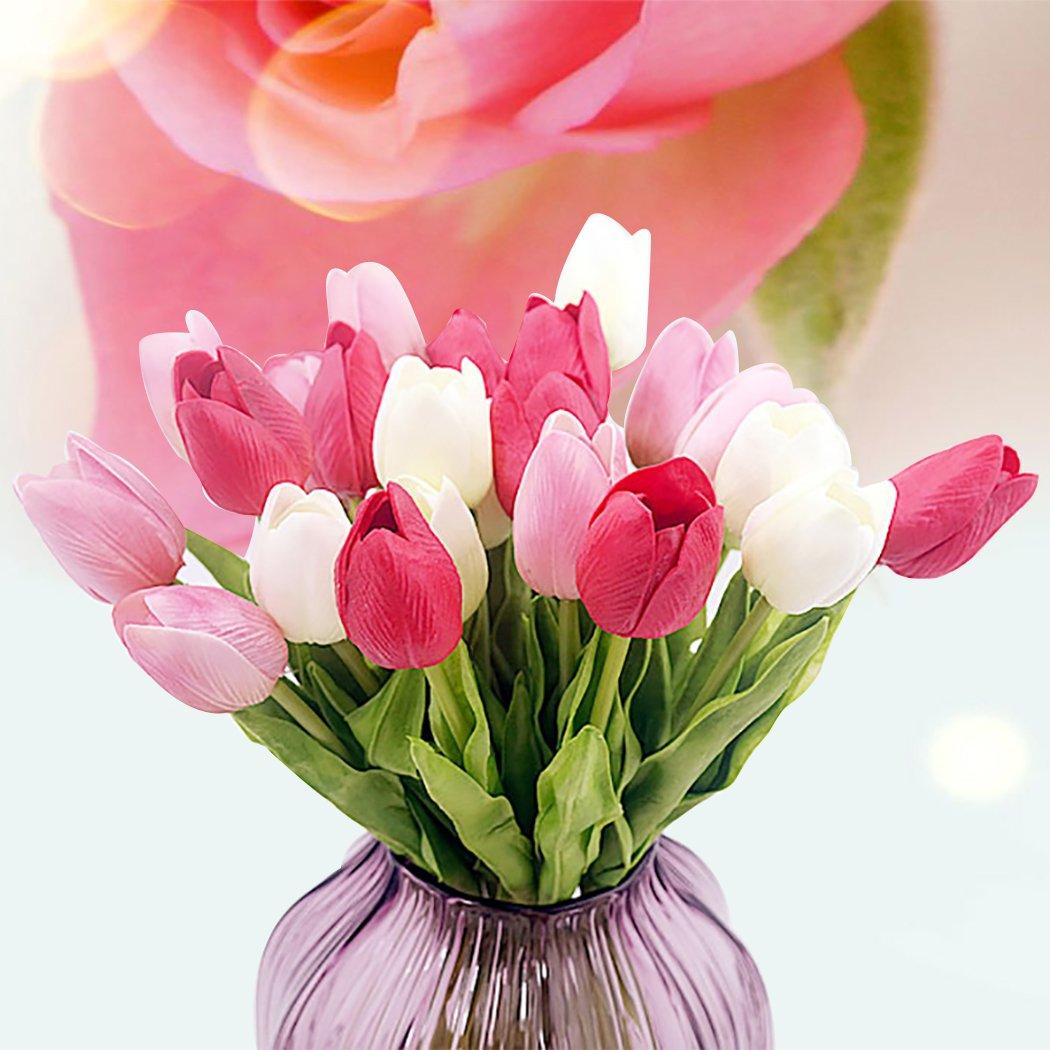 outgeek 21 Rami Fiore Artificiale Fiore Finto Ramo Simulato Fiore Tulipano Faux Festa Per La Decorazione Domestica