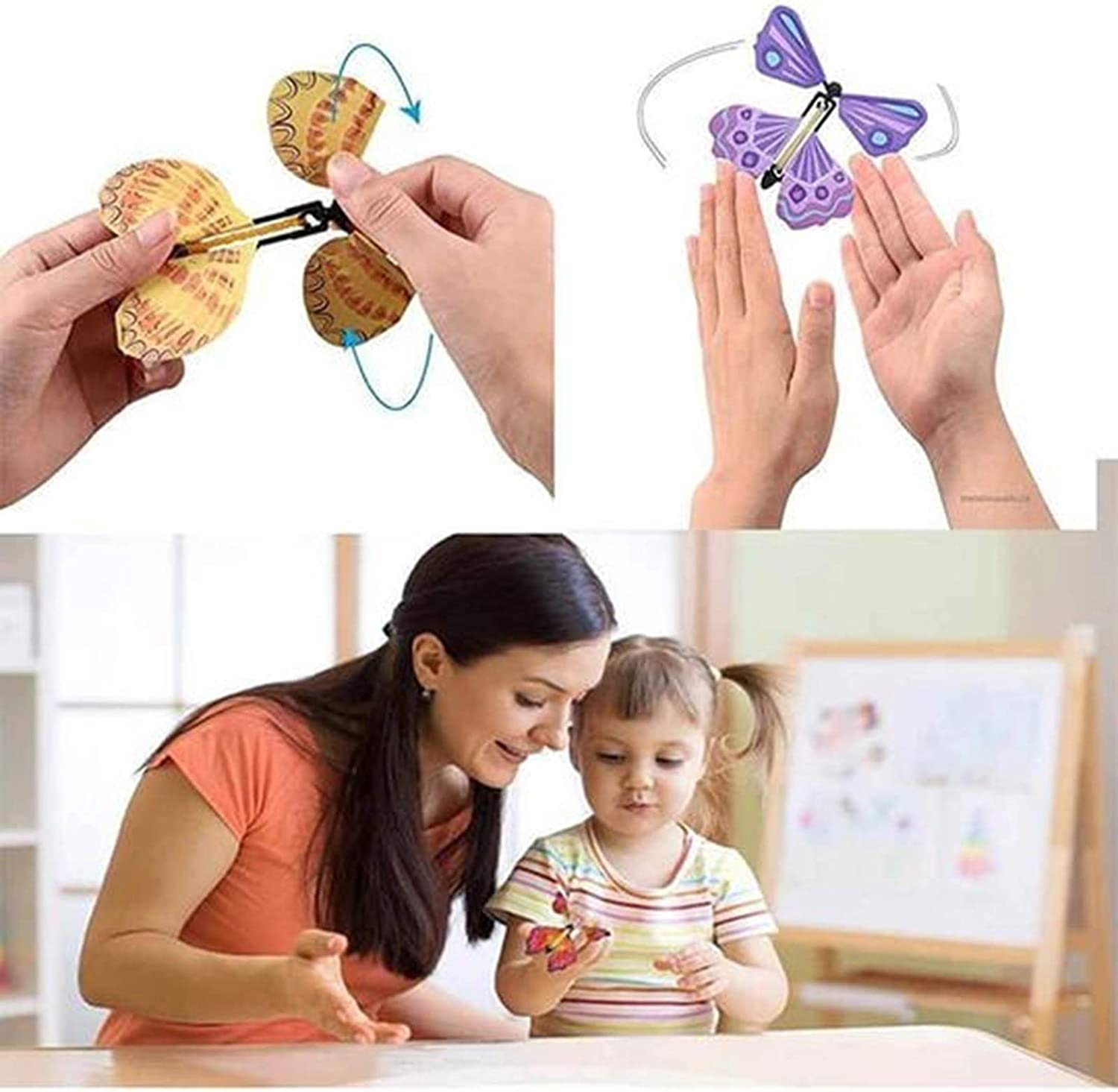 Flying Butterfly for Explosion Box 5Pcs Magic Butterfly flying Card Toy Rubber Band Powered Butterfly-Wind up Butterflies Toy Set Color Random