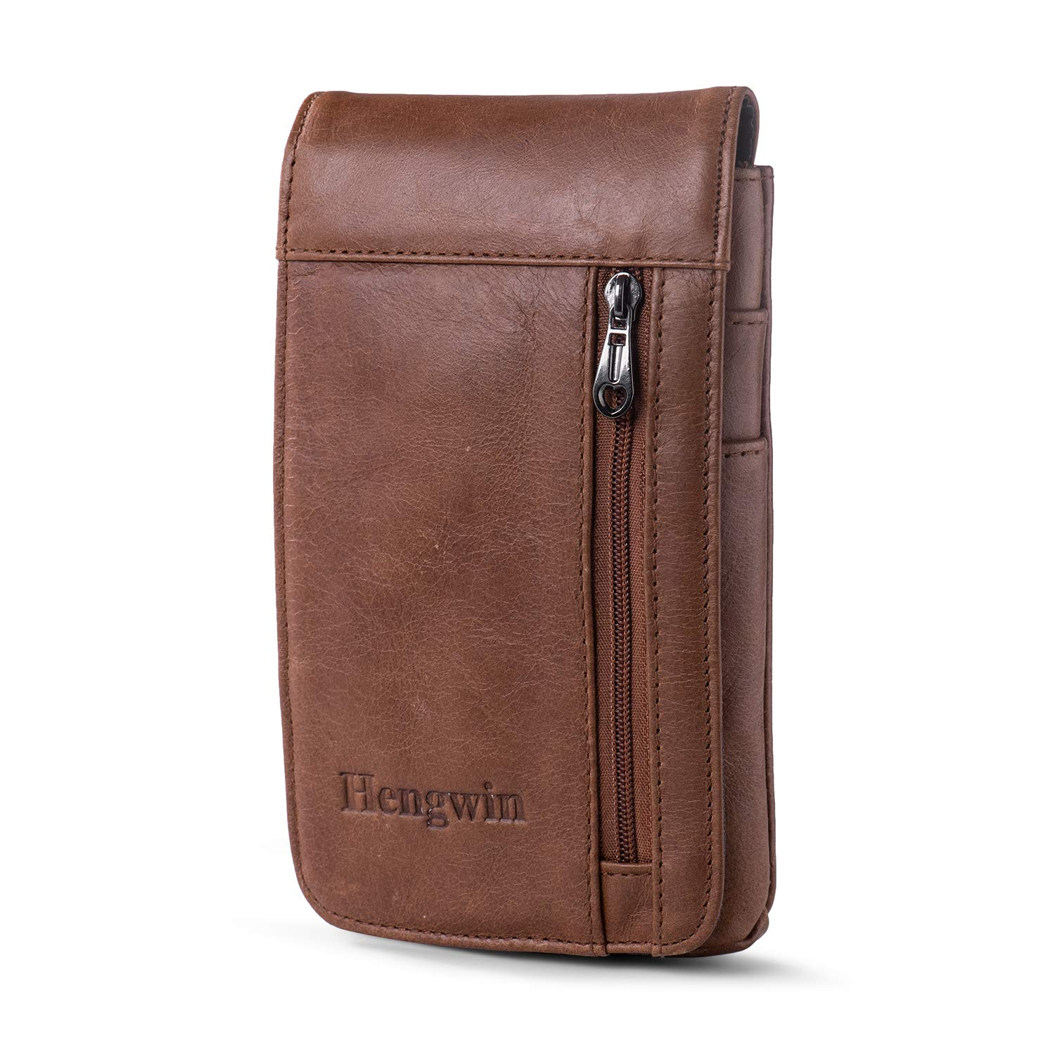 Hengwin iPhone 7 Plus Belt Clip Pouch Leather Smartphone Holster iPhone 8 Plus Belt Case for Men iPhone Xs Max Belt Loop Pouch Case iPhone 6 Plus Carrying Holster Case +Keychain (Khaki)