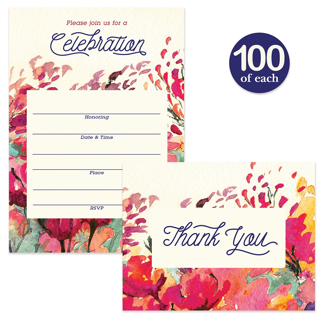 All Occasion Invitations ( 100 ) & Thank You Cards ( 100 ) Matched Set with Envelopes Large Family Office Church Celebration Birthday Retirement Fill-in Invites & Folded Thank You Notes Best Value