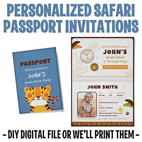 amazon com custom personalized tiger safari birthday invitations