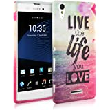 kwmobile Hülle für Sony Xperia T3 (Style) - TPU Silikon Backcover Case Handy Schutzhülle - Cover Live the Life Design Mehrfarbig Pink Blau
