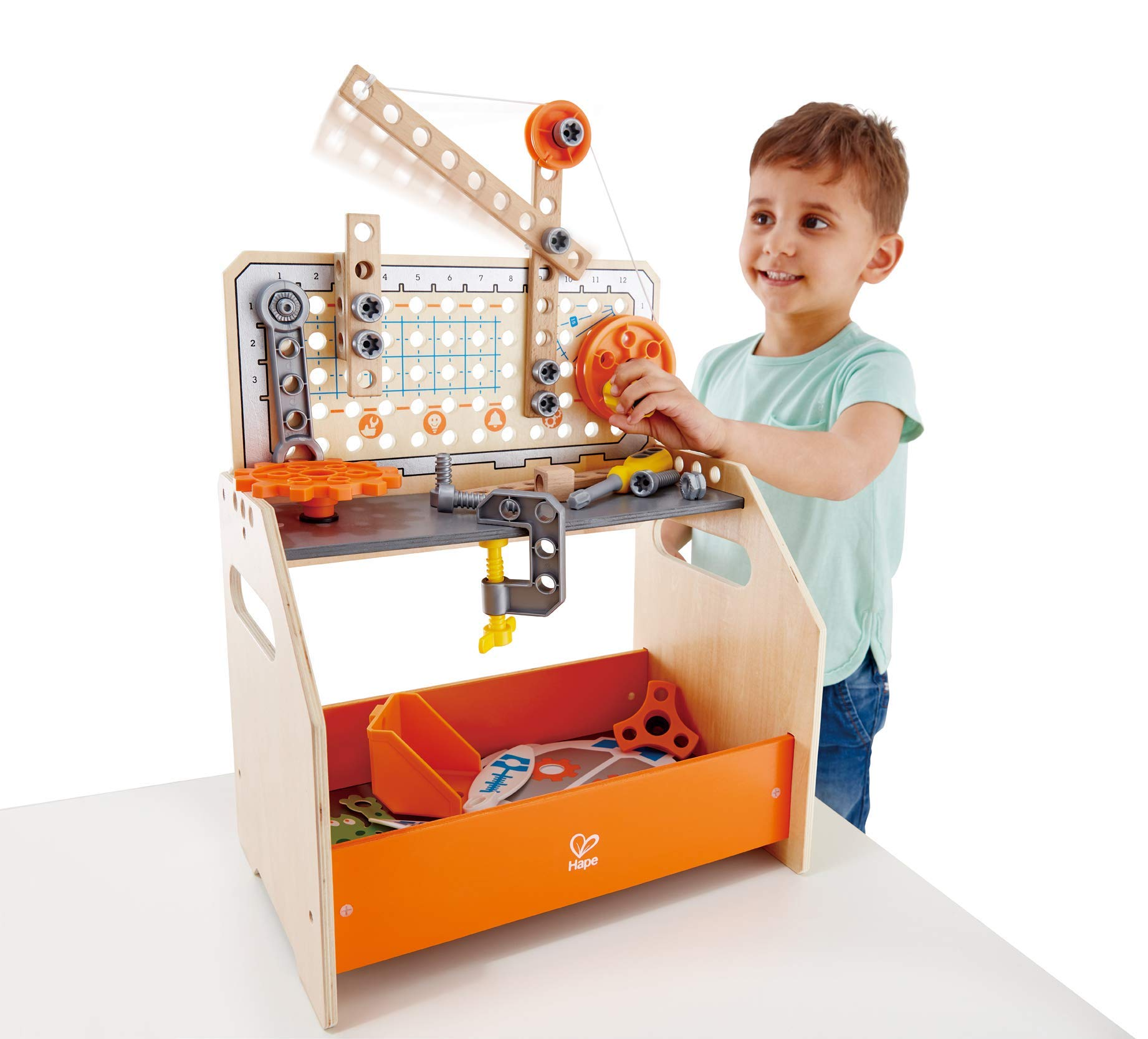 Hape Discovery Scientific Workbench | Kids Construction Toy, Children's Workshop with Over 10 Possible Creations, Toys for Kids 4+