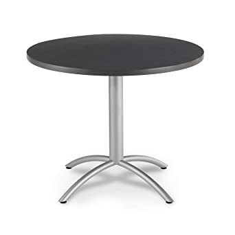 Iceberg 65648 CafeWorks Cafe/Meeting Table, 42u0026quot; Round, Graphite Granite