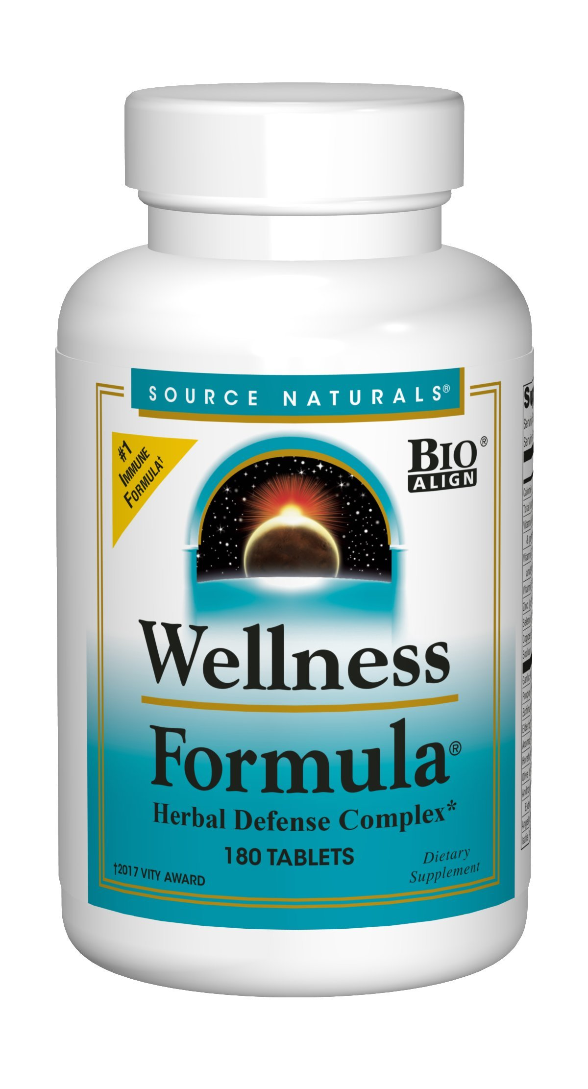 Source Naturals Wellness Formula Bio-Aligned Supplement Herbal Defense Complex Immune System Support & Immunity Booster Wholefood With Vitamins & Antioxidants - 180 Tablets