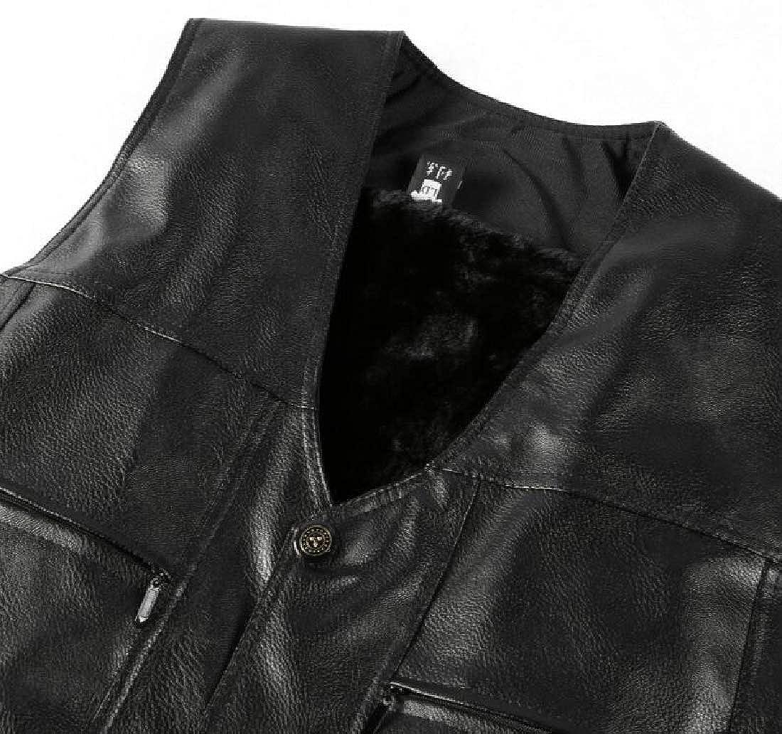 WSPLYSPJY Men Thicken Fleece Lined Warm Faux Leather Jacket Vest Waistcoats