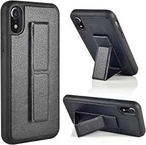 iPhone XR Case, iPhone XR Case with Stand, ZVEdeng Vertical and Horizontal Stand Reinforced Magnetic Kickstand Hand Strap Case Slim Protective Leather Kickstand Case for Apple iPhone XR 6.1'' Black