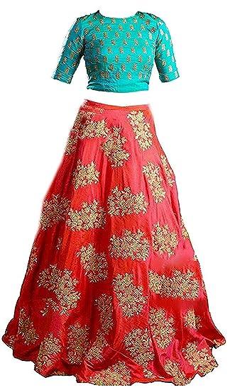 0fcc35e1301 Yovi Empire Girl's Taffeta Silk Semi-Stitched Lehenga Choli (Blue, Free  Size): Amazon.in: Clothing & Accessories
