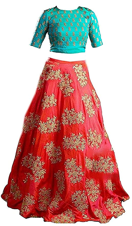 7b02e4851bf62 Yovi Empire Girl s Taffeta Silk Semi-Stitched Partywear Lehenga Choli  (Blue Orangekids 8 To 12 Years Age Free Size)  Amazon.in  Clothing    Accessories