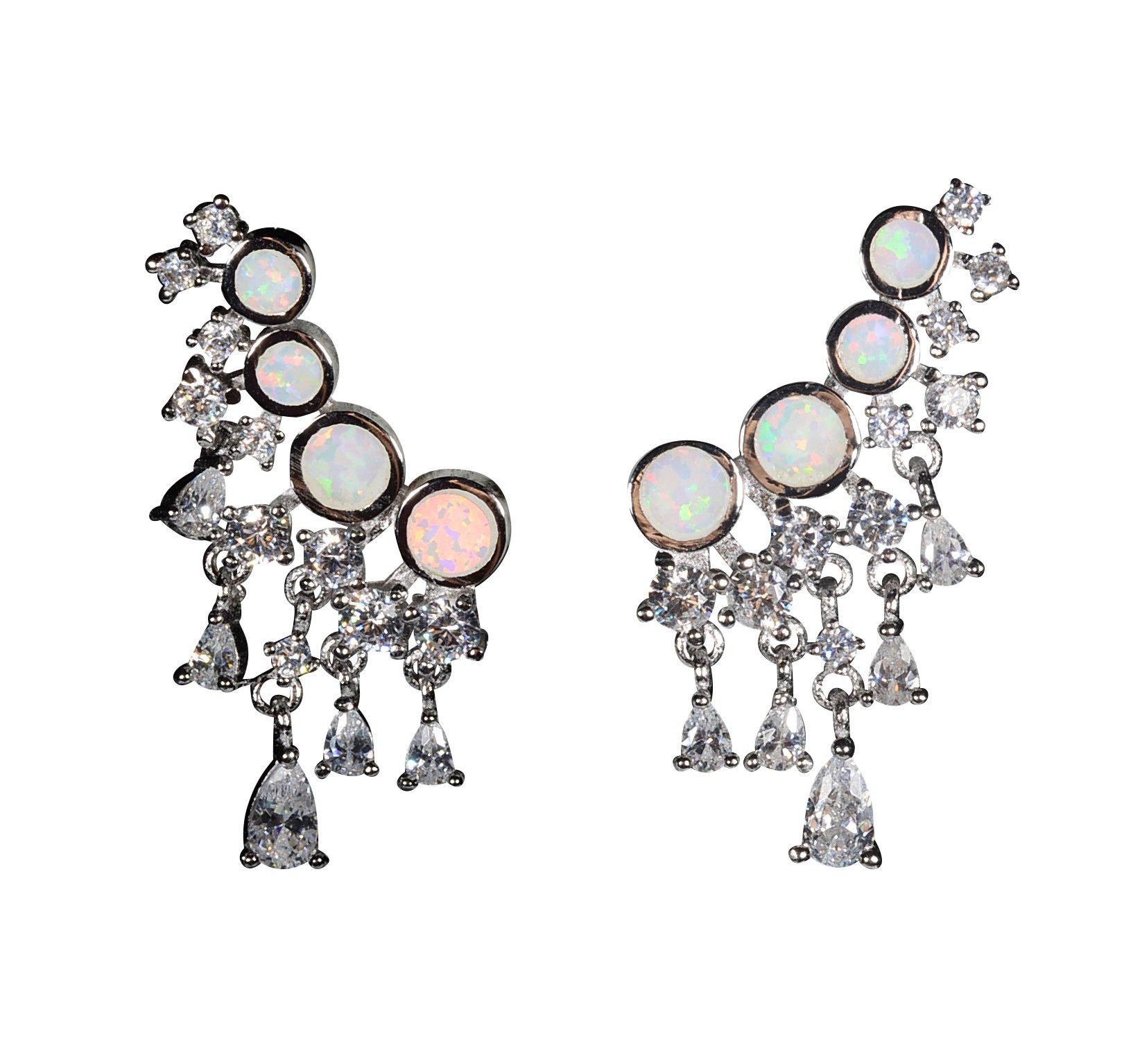Sterling Silver Earrings Ear Drop Earrings Opal Ear Crawler Earrings For Women Silver Ear Cuff Earring Ear Jackets Sterling Silver Halo Earrings Opal Full Ear Earrings (White Fire Opal)