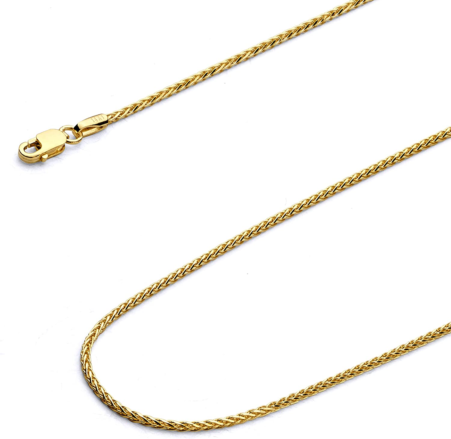 18 INCHES LONG 14KT GOLD DIAMOND CUT WHEAT CHAIN WITH LOBSTER LOCK WHEAT CHAIN