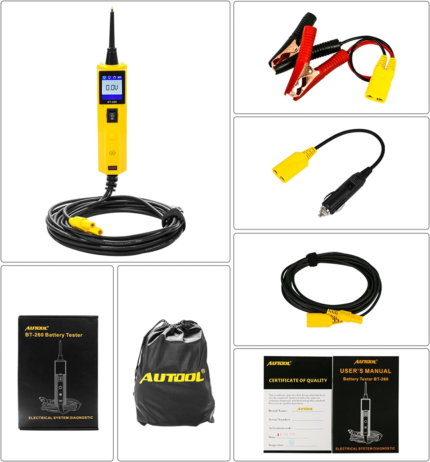 AUTOOL BT-160 Electrical Circuit System Diagnostic Tool 12V//24V Automotive Circuit Tester Power Probe for Vehicle//Boat//Motorcycle//Heavy Duty//Truck Electric Voltage Integrated Power Scanner