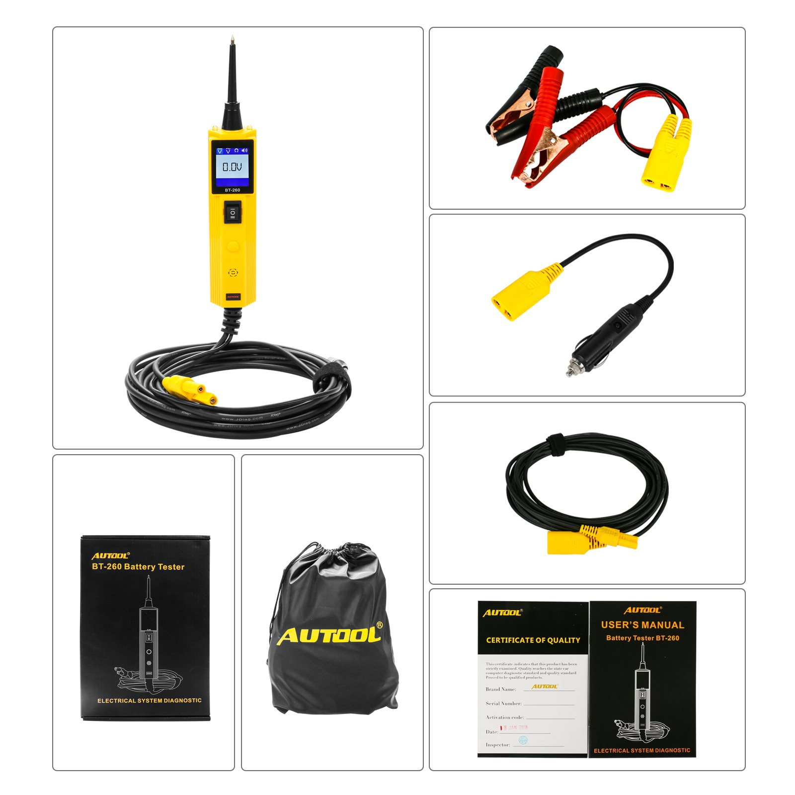 AUTOOL Automative Circuit Tester Power Probe Kit, Car Electrical Diagnostic Tool 12V/24V Circuit System Tester DC/AC Voltage/Polarity Locator with LED Flashlight by AUTOOL (Image #6)