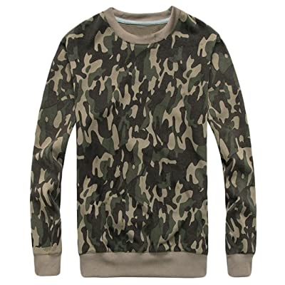 Rrive Men's Outdoor Long Sleeve Camo Printed Lightweight Pullover Sweatshirts