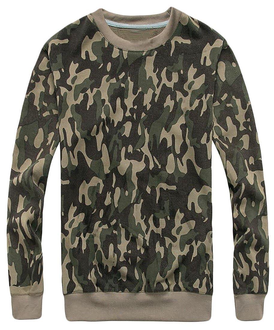Rrive Mens Outdoor Long Sleeve Camo Printed Lightweight Pullover Sweatshirts