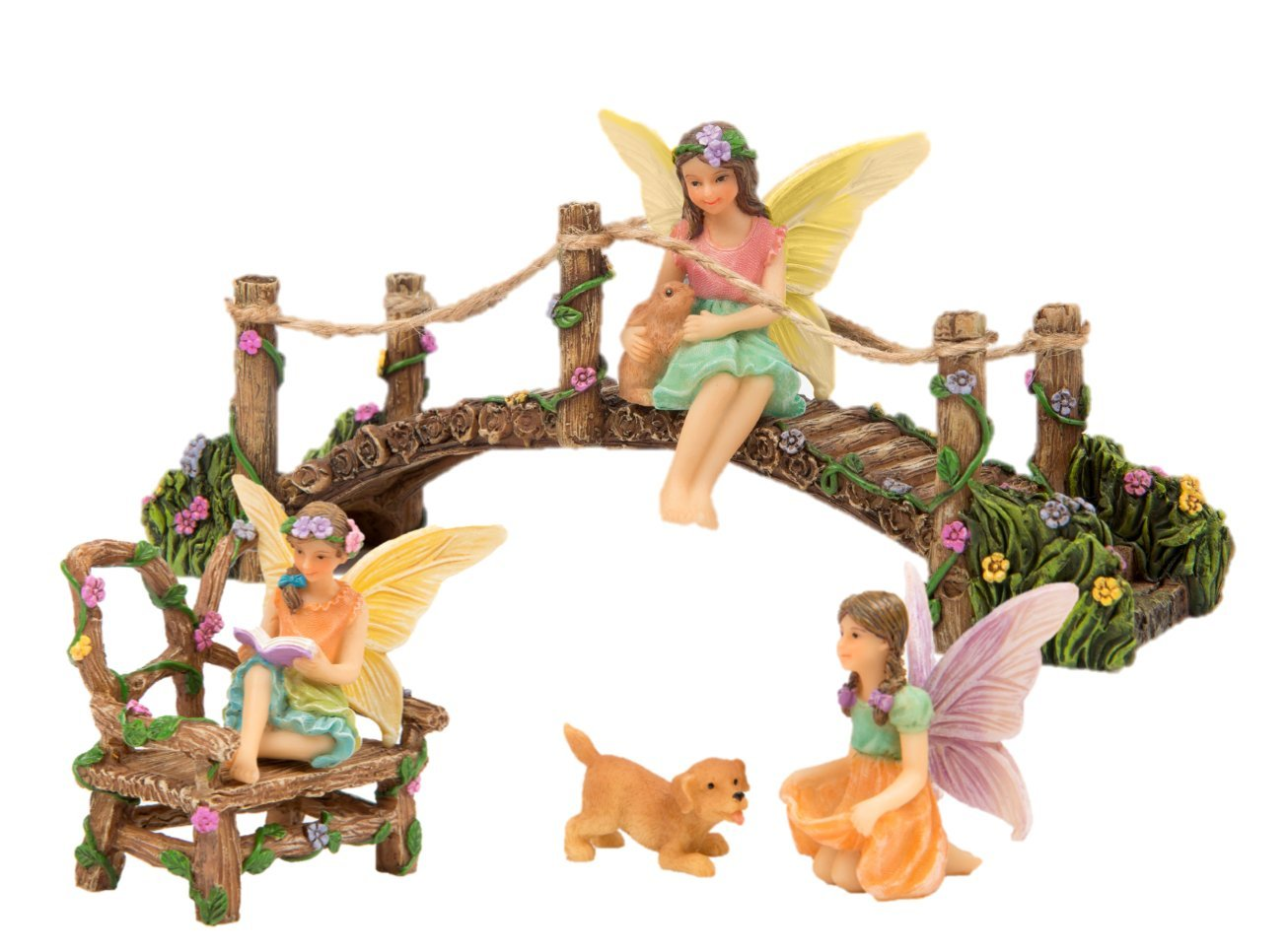 Complete hand painted fairy garden set + magical story booklet! Set comes with fairy friends, pets, and accessories and they all come to life in their Bunny Love booklet! (Multi)