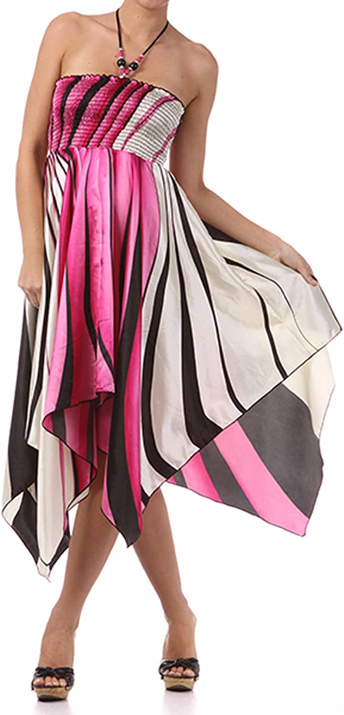 Swirl Design Satin Feel Beaded Halter Smocked Bodice Handkerchief Hem Dress 715LduiDYkL