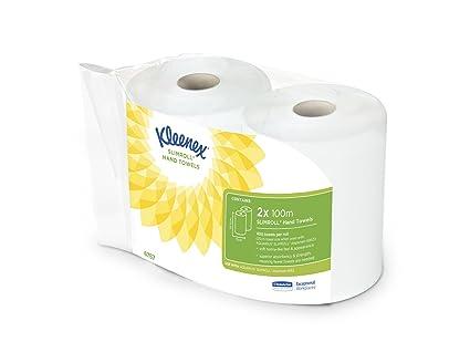 Kleenex 6767 Rollo de Toallas Secamanos, 100 m, 2 Rollos x 100m, Blanco