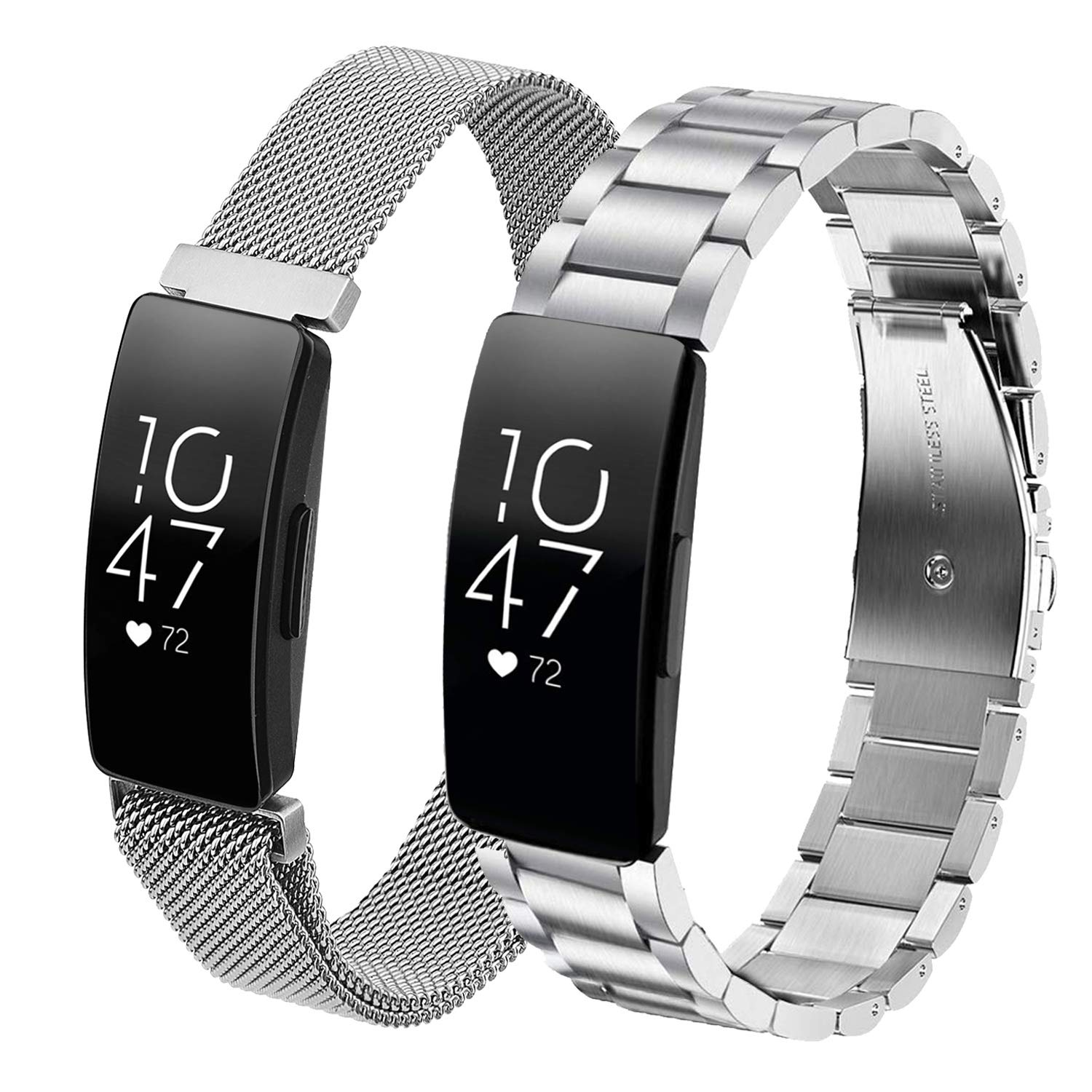 CAGOS Compatible for Inspire/Inspire HR Band Women Men, 2 Pack Solid Stainless Steel Inspire Metal Band+ Mesh Loop Bracelet Strap Replacement Inspire ...