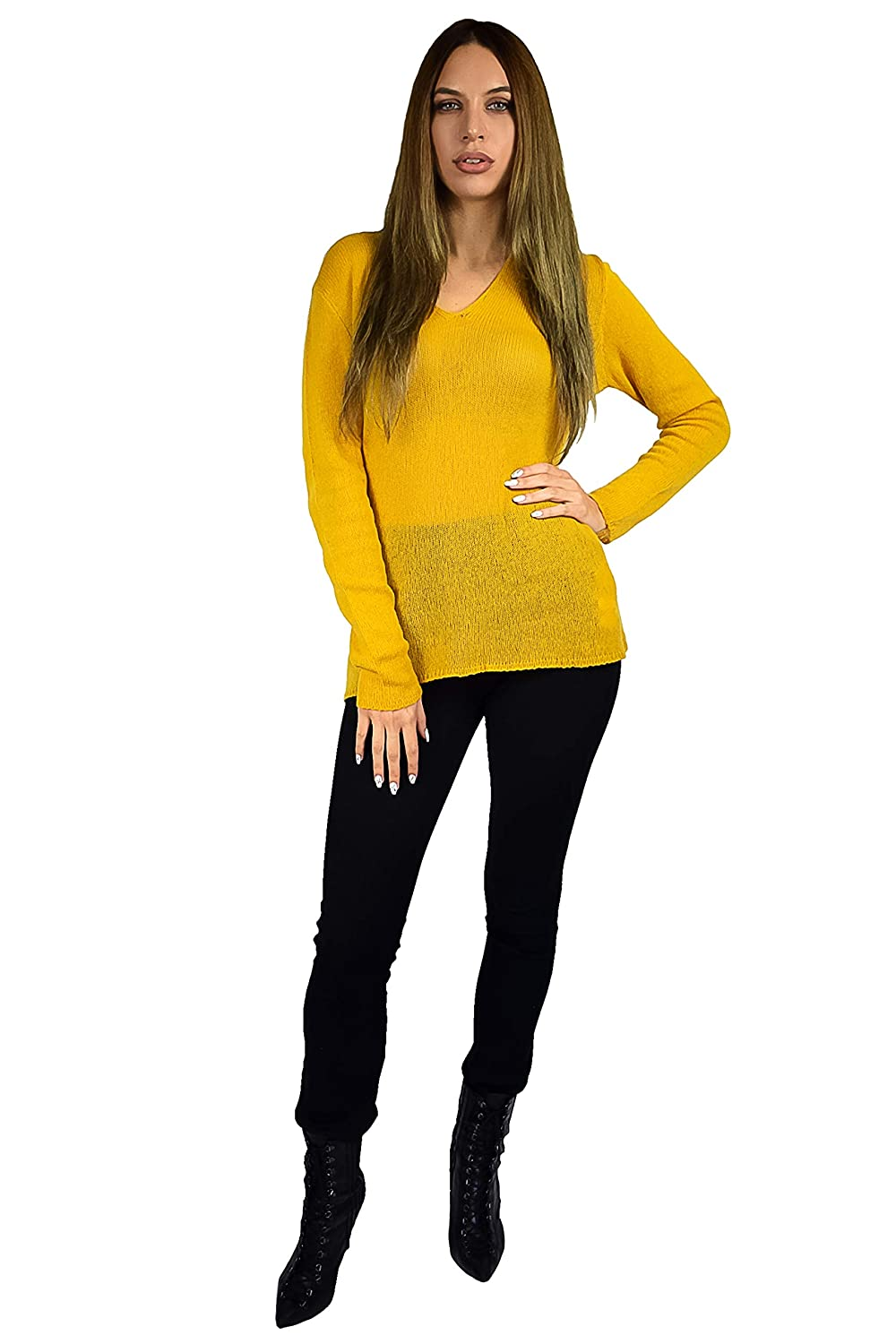 Mustard Cashmere Boutique  Women's Lightweight VNeck Sweater in 100% Pure Cashmere (2 colors, Sizes  S M L XL)