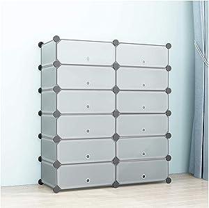 SIMPDIY Portable Shoe Rack Storage Organizer Shoe Box Storage System with Doors, Shoes,Accessories - Translucent (2x6 Cubes 93x37x108cm/37x15x43In)